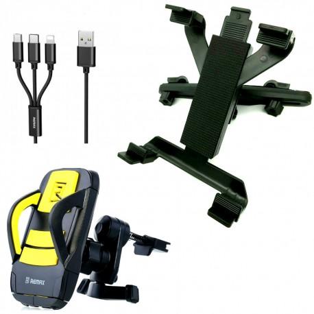 Set auto, suport tetiera tableta ipad dvd player universal + suport grila de ventilatie + cablu incarcare rapida USB