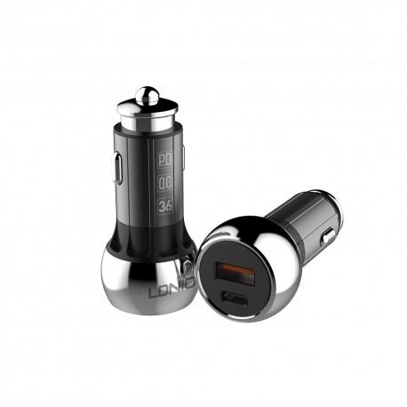 Incarcator auto smartphone incarcare rapida 3A USB, PD iphone, aluminiu